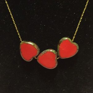 3 HEARTS BLOODSTONE GOLD TONE CHAIN NECKLACE